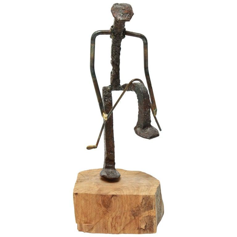 Modern Brutalist Iron Golfer Nail Sculpture For Sale
