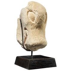 Stucco Head of the Jaguar God, Guatamala, Tribal Art