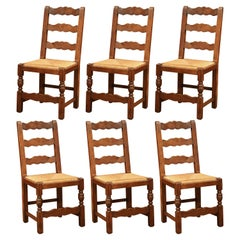 French Carved Oak Ladder Back Chairs with Rush Woven Seat, Set of Six