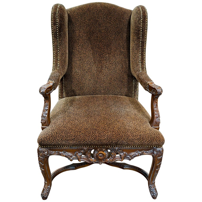Louis XVI Bergere Chair with Leopard Upholstery For Sale