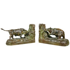 Pair of Bronze Animalier Bookends Retailed by Theodore B Starr Inc