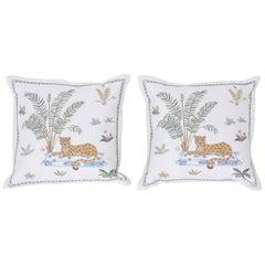 Tropical Crewelwork Cheetah Pillows