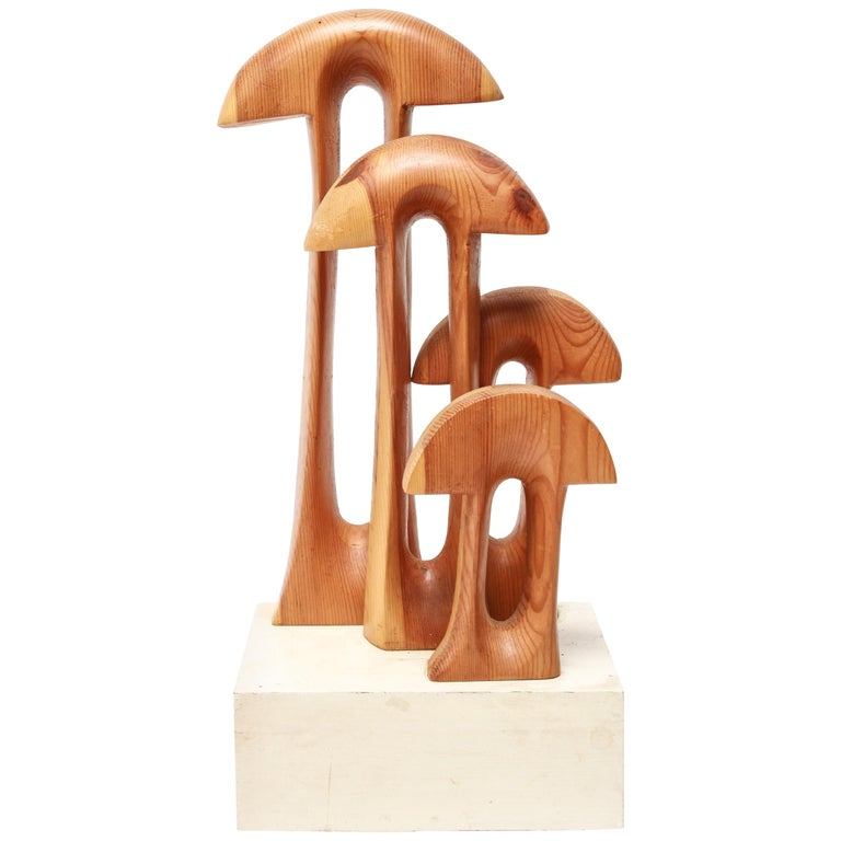 Mid-Century Modern Style 'Four Funny Mushrooms' Wood Sculpture For Sale