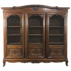 Antique Italian Walnut Piemontese Triple Bookcase