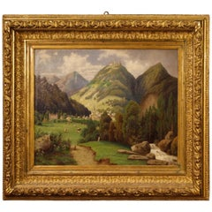 20th Century Oil on Canvas French Landscape with Village Painting, 1920