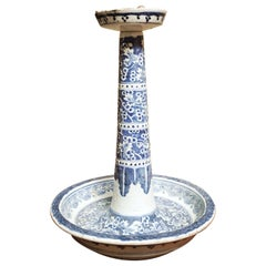 19th Century Chinese Blue and White Porcelain Candle Stand