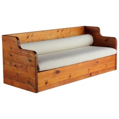 Swedish Sportstuge School, Minimalist Sofa, Pine, White Fabric, 1970s
