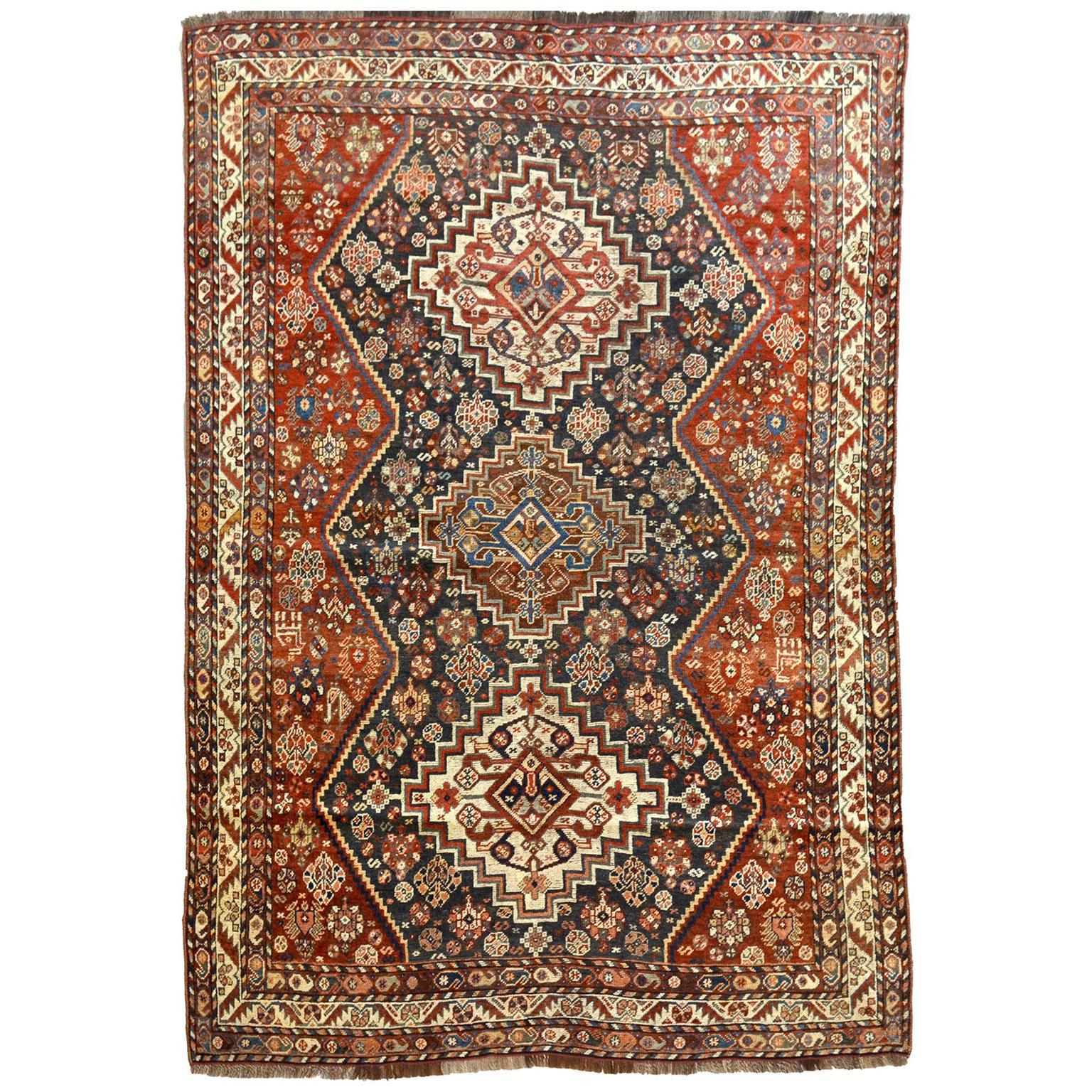 Persian Qashqai Carpet, circa 1880 in Pure Handspun Wool and Vegetable Dyes