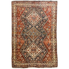 Persian Qashqai Carpet, circa 1880 in Pure Handspun Wool and Vegetable Dyes