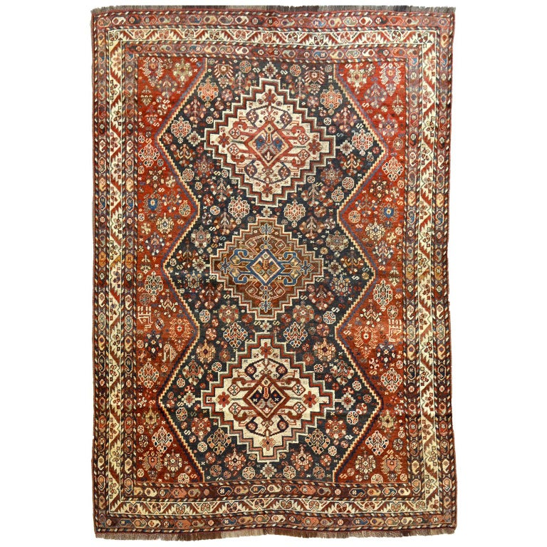 Persian Qashqai Carpet, circa 1880 in Pure Handspun Wool and Vegetable Dyes For Sale