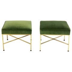 Paul McCobb Brass X-Stools in Fern Green Velvet