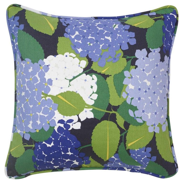 Schumacher Paul Poiret Hydrangea Document Two-Sided Linen Cotton Pillow For Sale