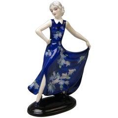 Goldscheider Vienna Lady Blue Dress Flower Pattern Model 7454 Lorenzl circa 1937