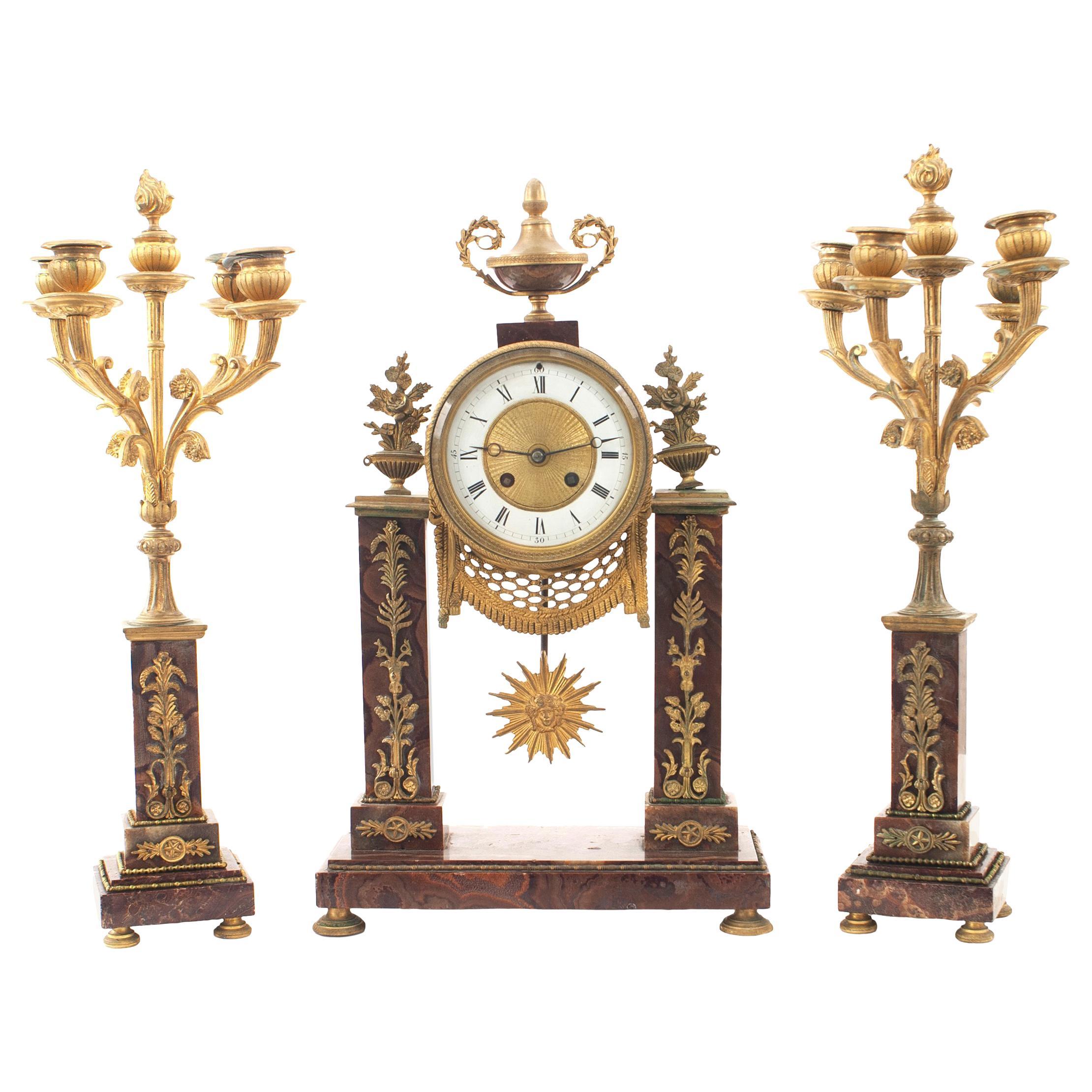 3-Piece French Louis XVI Marble Clock Set
