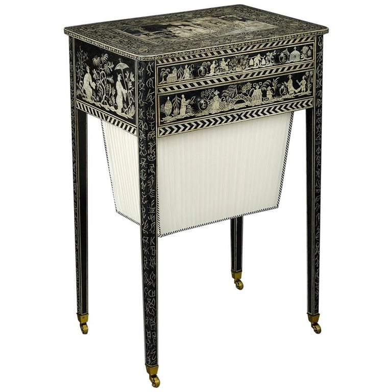 Regency Work Table with Chinoiserie Penwork Decoration For Sale