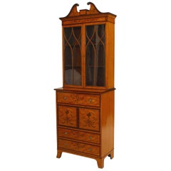 English Sheraton Style Inlaid Small Secretary