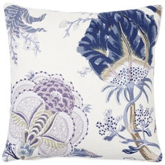 Schumacher Indian Arbre Hyacinth Two-Sided Linen Pillow