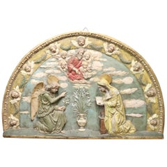 20th Century Artistic Hand Painted Clay Wall Decoration, Mary and the Angel
