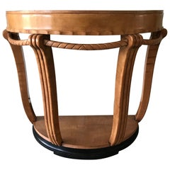 Large and Stylish Semi Circular Art Deco Wall or Side Table of Stained Beechwood