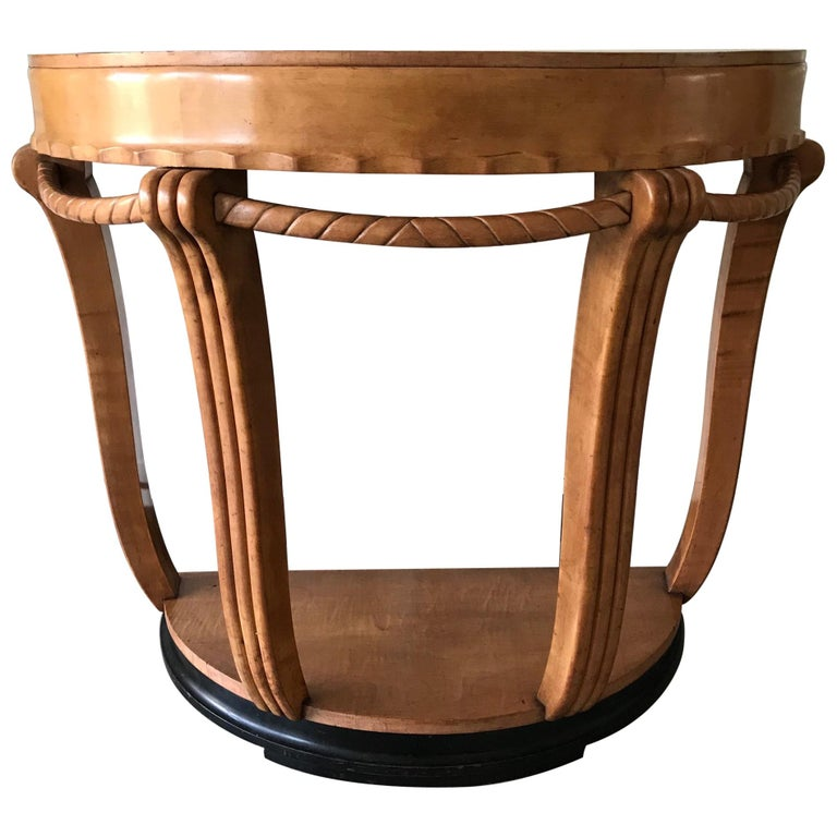 Large & Stylish Semi Circular Art Deco Wall or Side Table of Stained Beechwood For Sale