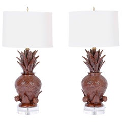 Pair of Pineapple Pottery Table Lamps