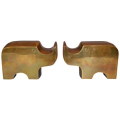 Mid-Century Modern Bronze Rhinoceros Bookends in the Manner of Fratelli Mannelli