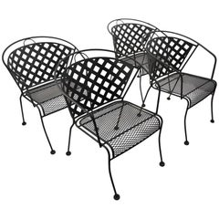 Set of Four Outdoor Chairs Attributed to Woodard