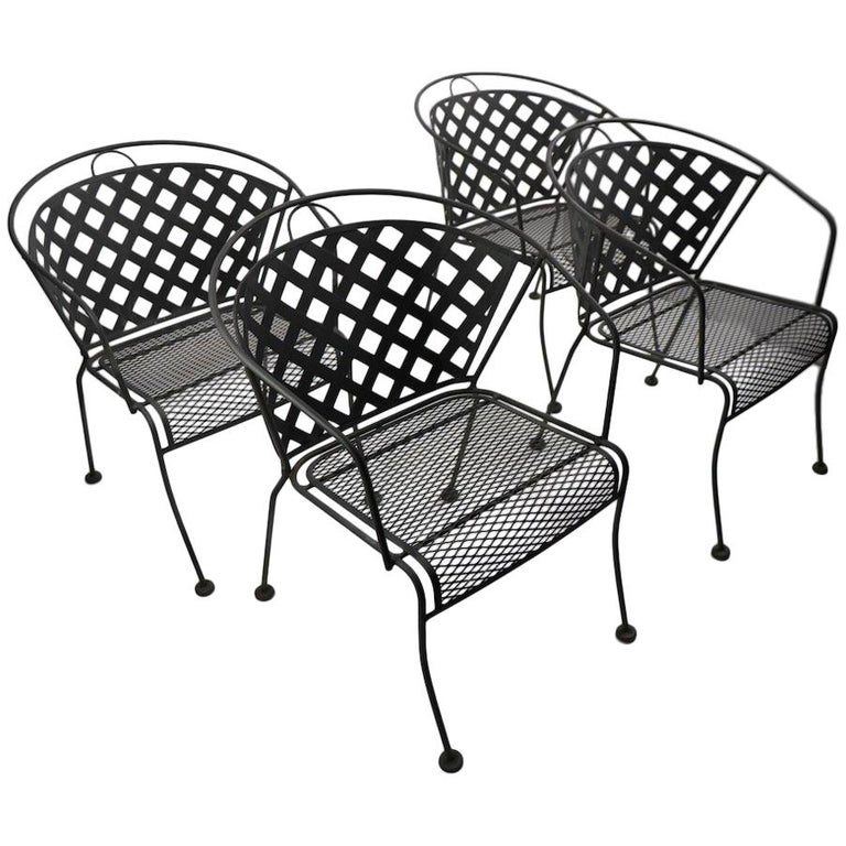 Terrific Set Of Four Outdoor Chairs Attributed To Woodard Gmtry Best Dining Table And Chair Ideas Images Gmtryco