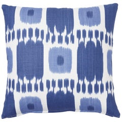 Schumacher Kandira Blues Two-Sided Linen Pillow