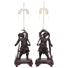 Pair of Japanese Bronze Samurai Figural Table Lamps