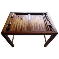 Spectacular 1970s Artisan-Made Backgammon Table with Checkers