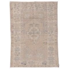Vintage Turkish Oushak Rug, Soft Palette