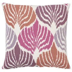 Schumacher Kimono Ikat Berry Two-Sided Linen Cotton Pillow