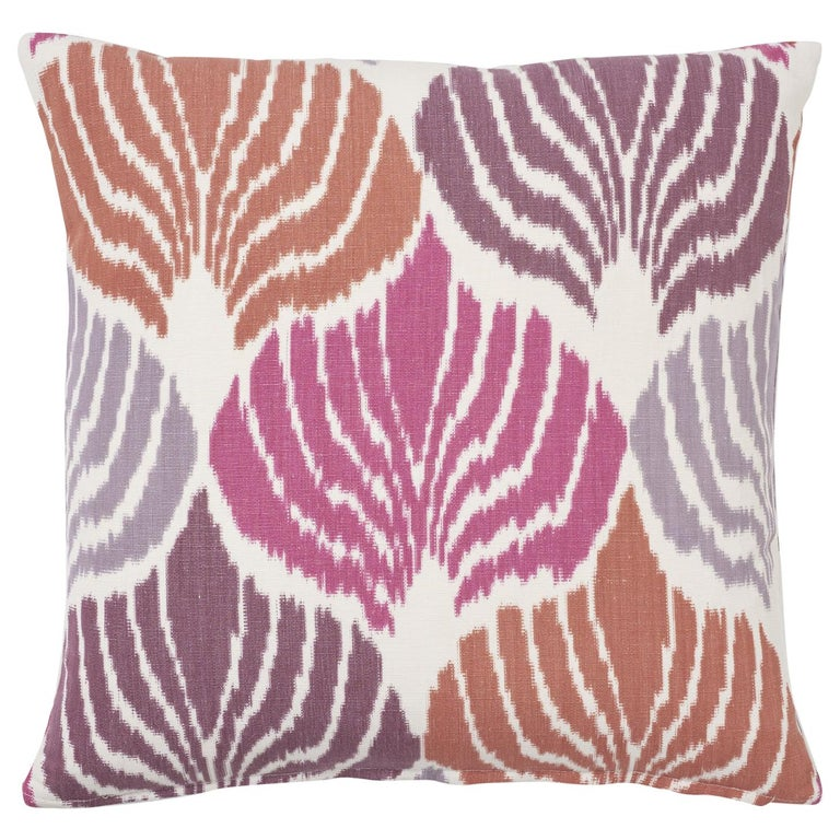 Schumacher Kimono Ikat Berry Two-Sided Linen Cotton Pillow For Sale