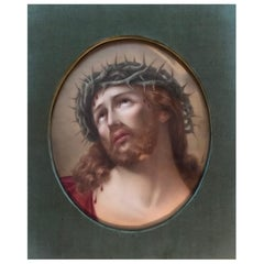 Large German Hutschenreuther Hand Painted Porcelain Plaque Head of Christ