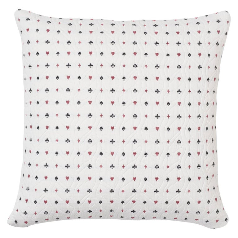 Schumacher Le Joueur Rouge Noir Two-Sided Cotton Pillow For Sale