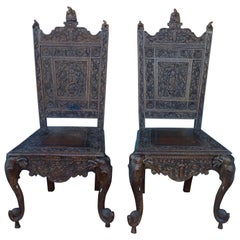 Pair of Elaborately Carved Anglo-Indian Side Chairs