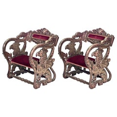 Pairs of 19th Century Italian Renaissance Style Jester Chairs