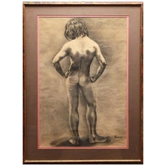 Kevin Paulsen Young Standing Nude Graphite on Paper