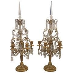Zwei Französische Vergoldete Bronze Girandoles