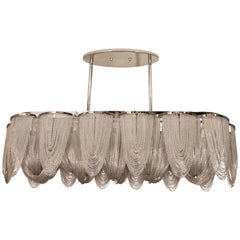 Modernist Polished Stainless Steel Draped Mesh Chandelier
