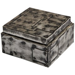 Paul Evans Argente Humidor Hinged Patchwork Metal Box, USA, 1970s