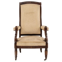French Charles X Rosewood and Inlaid Armchair