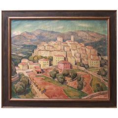 George Macrum 'Gattières' French Oil Landscape Painting