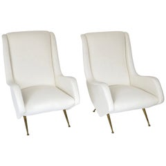 Italian Pair of Lounge Chairs by Aldo Morbelli for ISA Bergamo