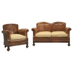 French Art Deco Leather Club Chair with Matching Leather Settee