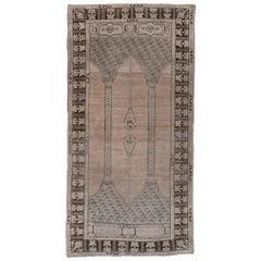 Antique Oushak Rug, Ghiordes Prayer Rug Style
