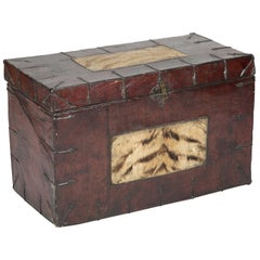 Antique Tibetan Leather Chest with Tiger Fur and Hand Wrought Iron Fittings