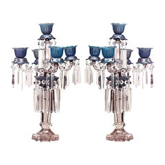 Pair of Similar English Victorian Crystal and Blue Opaline Candelabra