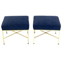 Paul McCobb Brass X Stools in Navy Velvet